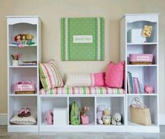 Bookcase Bench - Would like to do something like this with doll shelf, plus an IKEA shelf.