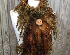 Forest cowl scarf-Woodland Felted Cowl wool scarf warm by folkowl