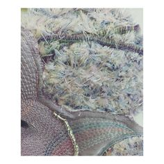 Tufted thread detailing shows colour blend combinations with additional couched yarn detailing and glass bead embellishments.