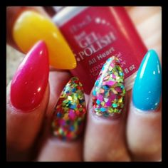 Rainbow glitter and flat acrylic stiletto nails Fabulous Nails, Gorgeous Nails, Pretty Nails, Hey Gorgeous, Beautiful, Bling Nails, Stiletto Nails, Hot Nails, Hair And Nails
