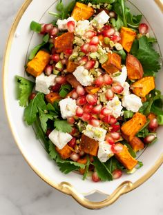 Wow not only does this dish look beyond beautiful it also taste out of this world! I will have to make this sweet potato pomegranate salad on Easter lunch or dinner for all my family and friends to try | love and lemons