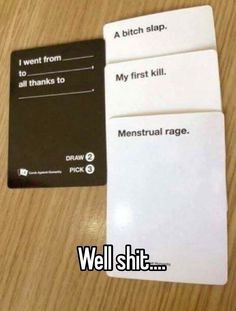 No robaras, cards against humanity funny, funny period jokes, period humor, lmfao Stupid Funny Memes, Funny Relatable Memes, Funny Posts, The Funny, Funny Quotes, Hilarious, Funny Stuff, Random Stuff, Funny Adult Jokes