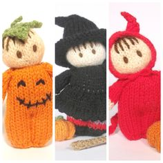 The Bitsy baby's are all dressed up for Halloween! These are great last minute knits for slightly spooky gifts or decorations. Halloween Knitting, Halloween Doll, Vintage Halloween, Crochet Doll Pattern, Crochet Dolls, Crochet Hats, Loom Knitting, Baby Knitting, Knitting Patterns