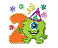 Funny Monster Happy Birthday Number 2  Applique by EmbroideryLand