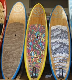 Suplove SUP boards ~ neat decking love the colors on the middle one Paddle Board Surfing, Sup Stand Up Paddle, Paddle Boarding, Inflatable Sup Board, Blue Ridge Georgia, Sup Boards, Sup Yoga, Sup Surf, Water Toys