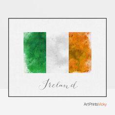 Ireland flag watercolour poster Ireland wall art print Ireland art watercolor flag ArtPrintsVicky by ArtPrintsVicky Canvas Wall Art, Wall Art Prints, Fine Art Prints, Framed Prints, World Map Poster, All Poster, Flag Art, Metallic Colors, Travel Posters