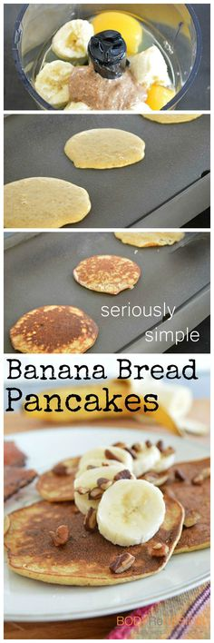 Banana Bread Pancake recipe from… Banana Bread Pancakes Recipe, Easy Banana Bread, Wrap Recipes, Baking Recipes, Good Food, Yummy Food, Delicious Recipes, Low Calorie Recipes, The Best
