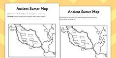Ancient Sumer Location and Era Map Activity