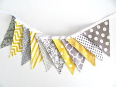 Baby Bunting Fabric Flags Banner Yellow Grey by OvationStudio