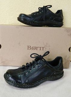 Born Chastain Leather Oxfords Black 7.5/38.5 9.5/41 Bowling Shoe Inspired #Born #Oxfords