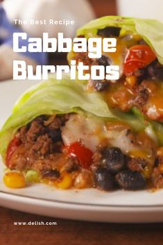 The Best Recipe Cabbage Burritos Baked Chicken Recipes, Meat Recipes, Recipies, Dinner Recipes, Cooking Recipes, Chicken Breakfast, Chicken Burritos, Cabbage, Good Food