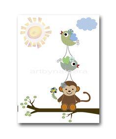 """Baby Nursery Decor, Art for Children , Kids Wall Art, Baby Boy Room Decor, Nursery print 8"""" x 10"""" Print, bird, green, blue, artwork. $14.00, via Etsy. artbynataera"""