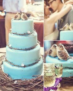 Bolo azul com passarinhos <3