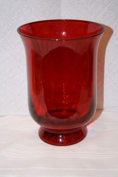 """Smith & Hawken ruby red glass vase MINT Measures approx: 7 1/4"""" x 5""""D from 2006 $20 Red Glass, Glass Vase, Bohemia Glass, Vases For Sale, Ruby Red, Mint, Decor, Decoration, Decorating"""