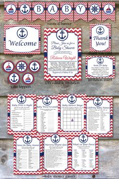 Nautical Baby Shower Party Package  by OakCityPaperCompany on Etsy