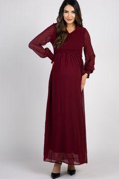 Burgundy Polka Dot Chiffon Smocked Maxi Dress