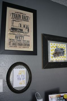 grey and yellow train bedroom   Project For: Avett Age: Infant Location: Lubbock Description: