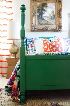 Craigslist cast off bed made gorgeous with the help of emerald green paint.Striped curtains for guest bedroom Beach House Bedroom, Home Bedroom, Bedroom Decor, Modern Bedroom, Trendy Bedroom, Bedroom Ideas, Master Bedroom, Green Painted Furniture, Painted Beds