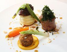 #LancashireLife #Dinner - #RibbyHall Village, Wrea Green. Trio of #pork, roasted loin, braised cheek and brawn croquette.