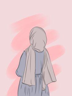 Cartoon Girl Images, Cartoon Art Styles, Girl Cartoon, Wallpaper Hp, Cute Girl Wallpaper, Cover Wattpad, Hijab Drawing, Islamic Cartoon, Anime Muslim