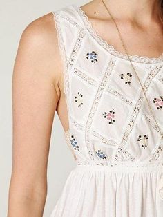 What is going on here. I love it. Embroidered women's lace cotton dress