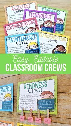 Classroom Crews (Class Jobs in Teams! Classroom Jobs, Future Classroom, Classroom Organization, Classroom Management, Class Management, Behavior Management, Classroom Decor, Class Jobs, Student Jobs