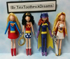 Super Heroines, tiny toothpick dolls, ornaments/magnets/bookshelf decorations, Wonder Woman, Batgirl, Supergirl, She-ra Princess of Power
