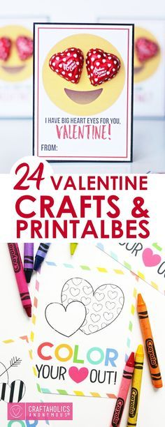 Valentine's Crafts and Printables - Including easy Valentine's Activities, Valentine's Printables for food items and non-food items (lip balm, Hot Wheels, and more), and also includes printable Valentine's Cards that need nothing else!