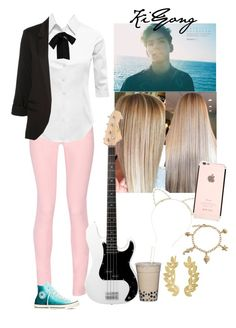 """""""KiYong-Bassist"""" by bts-x-exo-97 ❤ liked on Polyvore featuring Lipsy, Maison Kitsuné, LE3NO, WithChic, Bling Jewelry, Converse and Eddera"""
