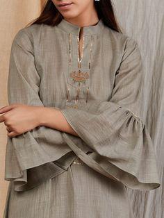 Grey Hand Embroidered Cotton Linen Flared Kurta with Palazzo - Set of 2 Neck Designs For Suits, Sleeves Designs For Dresses, Dress Neck Designs, Blouse Designs, Trendy Dresses, Fashion Dresses, Abaya Fashion, Fashion Pants, Khadi Kurta
