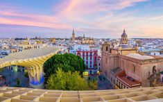 Download wallpapers Seville, sunset, evening, beautiful city, Andalusia, Spain