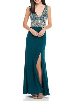 Blondie Nites Neo Emerald Beaded Bodice Jersey Gown