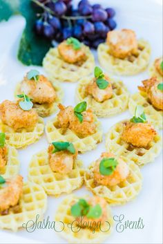 Daily Pretty {Food}:  Who's hungry for some beautiful food?  All this week and next we will be featuring scrumptious food shots. Today...mini chicken and waffles. Image by Damion Hamilton. Food by Elaine Bell Catering #food #horsdoeurve #southernsoulfood #yummy