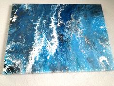 "SOLD! $170 Abstract acrylic painting on canvas ""Ocean flash"" 40x55 cm. Relaxing effect and calm positive energy"