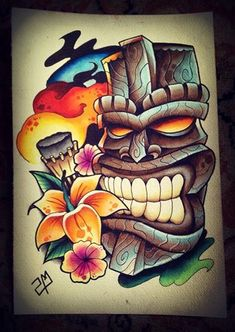 Tiki Tattoo Design by artisticrender.deviantart.com on @deviantART