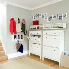 Brilliant hall storage. Clear and clean with just enough to keep the essentials to hand.