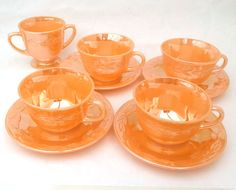 Vintage King Fire Peach Lustre Ware Cups Saucers American Diner Retro Carnival Glass presentpastime, £18.00