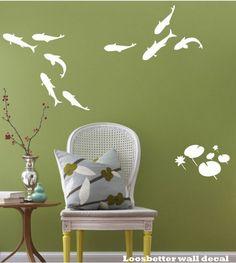 Fish and Lotus Wall Decal. $49.00, via Etsy.