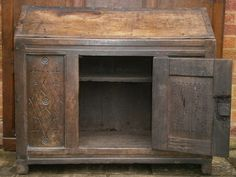 An early century welsh oak dole cupboard of boarded construction. Wood Ideas, Cupboards, Wizards, Welsh, 17th Century, Antique Furniture, 18th, Entryway Tables, Period
