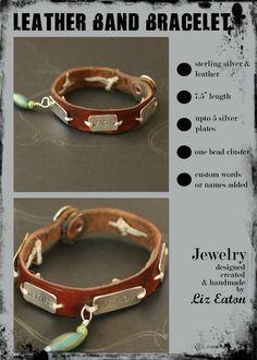 Leather & stamped metal bracelet - shannon porter jewelry   Found on lizeaton.typepad.com