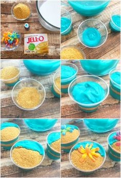 Making Ocean Pudding Cups Making Ocean Pudding Cups Moana Birthday Party Theme, Mermaid Theme Birthday, Luau Birthday, Ocean Birthday Cakes, Birthday Ideas, Birthday Nails, Princess Birthday, Ocean Party, Luau Party