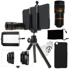 iPhone 6 Plus Camera Lens Kit: includes an 8x Telephoto Lens / Fisheye Lens / 2 in 1 Macro Lens and Wide Angle Lens / Mini Tripod / Universal Phone Holder / Hard Case for Apple iPhone 6 Plus / Velvet Phone Bag / CamKix Microfiber Cleaning Cloth //