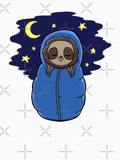 'Cute Sloth Sleeping Camping' T-Shirt by jonmlam Cute Baby Sloths, Cute Sloth, Sloth Shirt, Canvas Prints, Art Prints, Night Skies, Camping, Backpacking, Animals