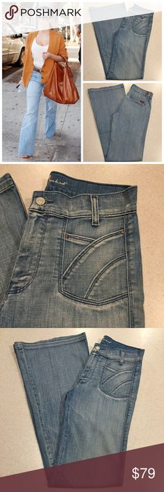 """7 For All Mankind Jeans 27X34.5 Iceland Flare! 7 for all mankind jeans Size 27, 9.5"""" rise, 15"""" across higher waist, 11"""" across bottom of leg 34.5 inch long unaltered inseam (hard to find) Sunset flare in Iceland! Adorable sunset front pockets Vibrant light blue, flowy and soft stretch denim with medium fading Perfect preowned condition, no flaws! Retailed for $225 and have been a celeb fave! If you love dojos you'll love these  All of my items come from a smoke free, pet free home and are…"""