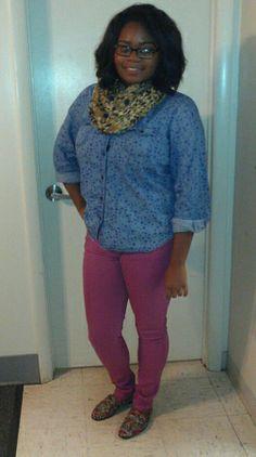 Denim shirt, scarf, colored pants, flats.
