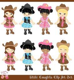 Cute little Cowgirls Pink Jeans Clip Art Set by 1EverythingNice