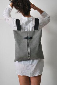 ULTIMA città convertibile uno zaino a tracolla borsa grigio