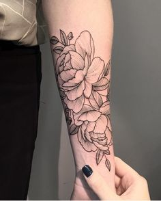 """6,834 Likes, 30 Comments - Sashatattooing Team (@sashatattooingstudio) on Instagram: """"Beautiful peonies by @alinatu done in @korpusdomini Rome Booking in Moscow is open from 15…"""""""