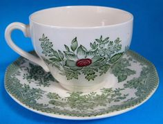 Cup And Saucer Kent Floral Green Transferware Wedgwood 1950s England