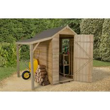 this 4x6 overlap apex shed with lean to offers an extra sheltered storage space ideal